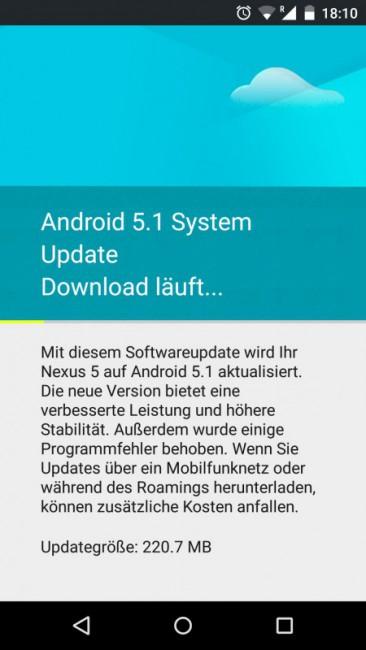 Nexus 5 OTA mit Android 5.1 Lollipop