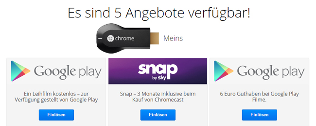 Google Chromecast Angebot
