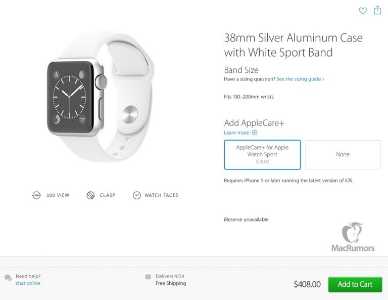 Apple Watch Sport mit AppleCare+