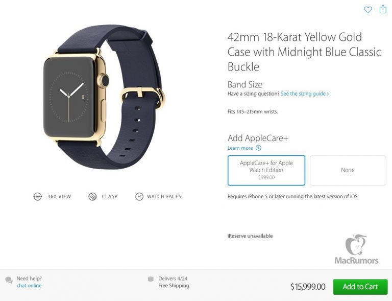 Apple Watch Edition mit AppleCare+