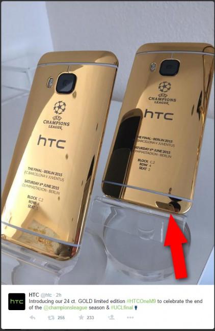 htc_one_m9_gold_iphone_spiegelung