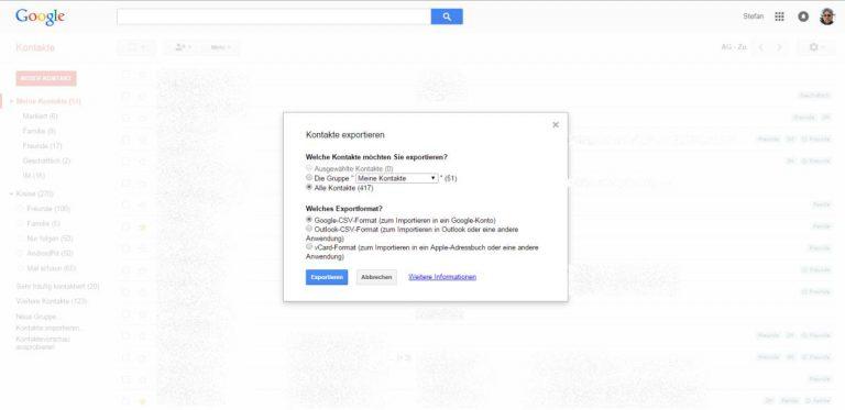 Google Kontakte sichern