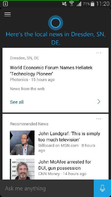 Microsoft Cortana für Android