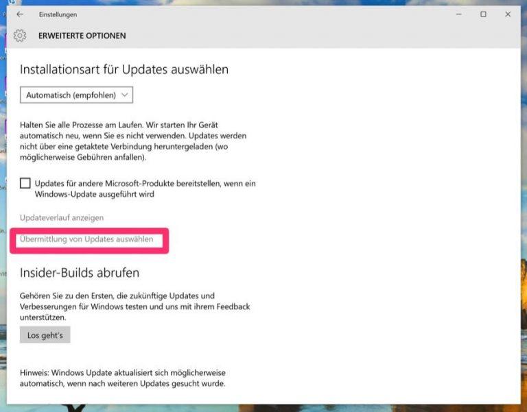 Windows 10 P2P-UPdates
