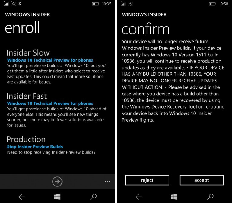 Windows 10 Mobile Insider App