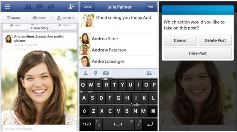 Facebook-App für BlackBerry OS 10
