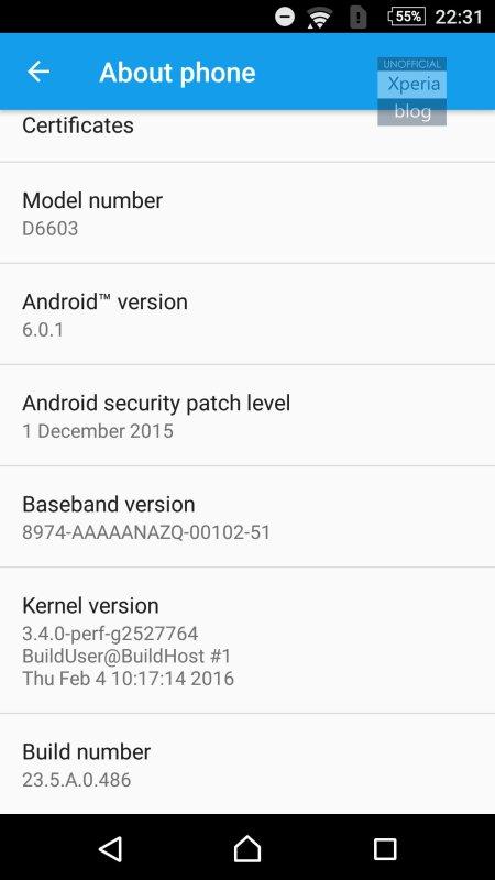 Sony Xperia Z3 Marshmallow Beta