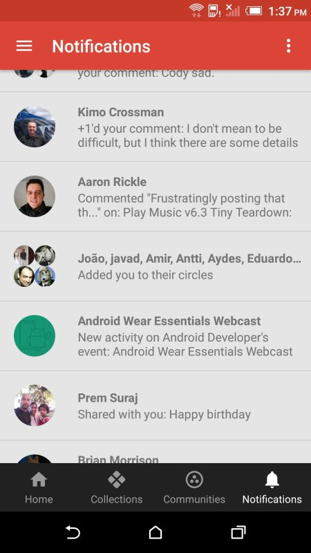 Google+ Benachrichtigungen