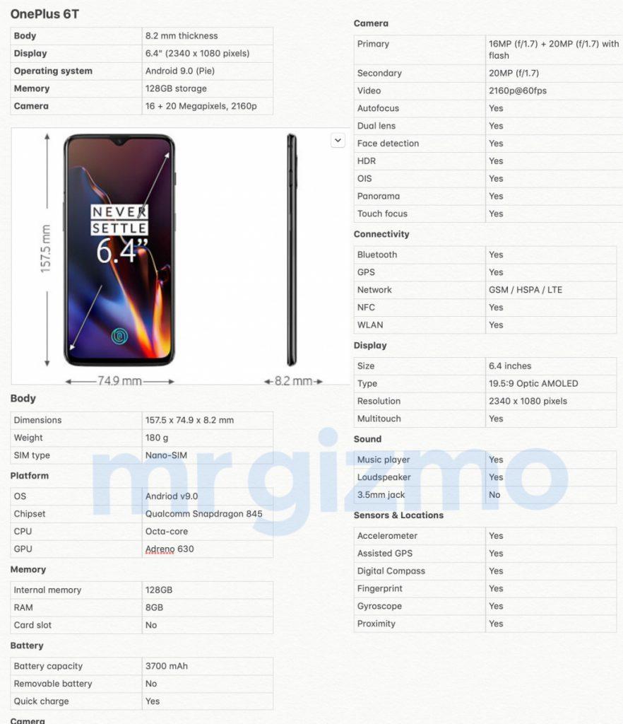 Technische Daten des OnePlus 6T