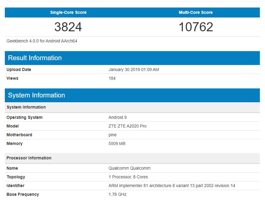 ZTE Axon 10 Pro im Benchmark