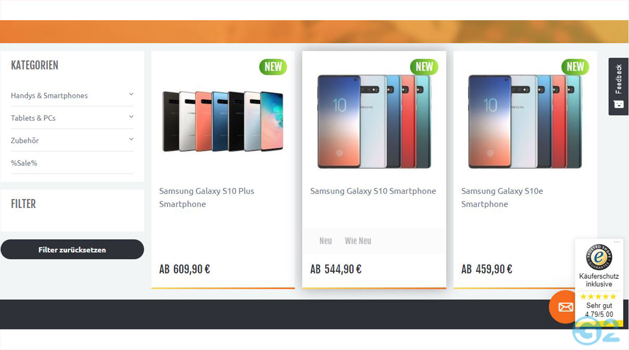 Samsung Galaxy S10 Serie bei Handingo.de
