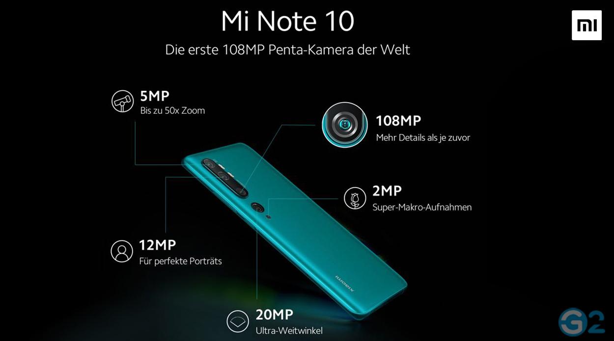 Xiaomi Mi Note 10 Penta-Kamera