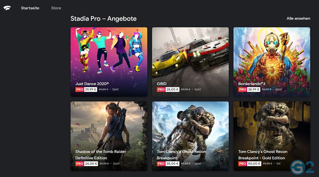 Google Stadia Spiele