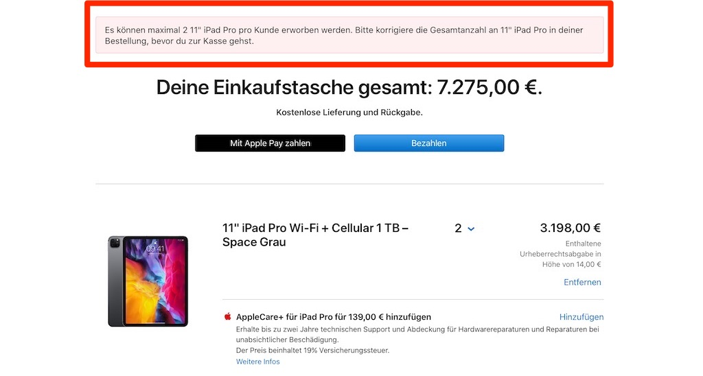 Apple iPhone, iPad und MacBook Air sind limitiert