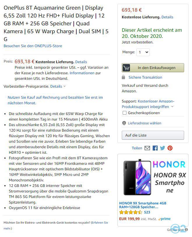 OnePlus 8T zeigt sich bei Amazon