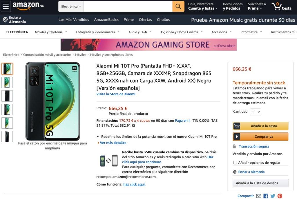 Xiaomi Mi 10T Pro Amazon Espanha
