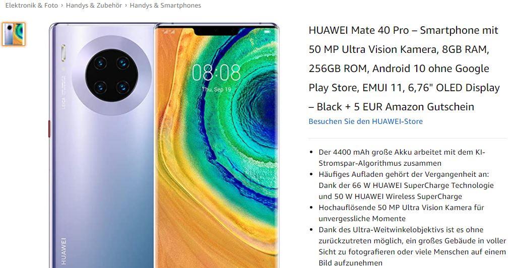 Huawei Mate 40 Pro bei Amazon
