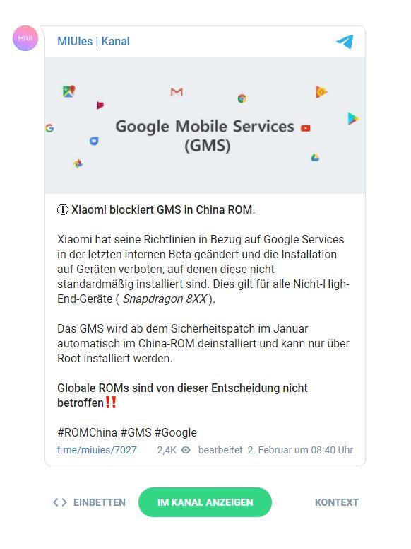 Xiaomi verbietet Google Mobile Dienste