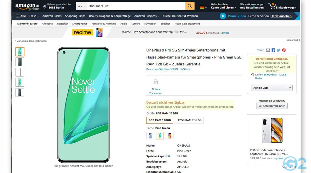 OnePlus 9 Pro Verfügbarkeit