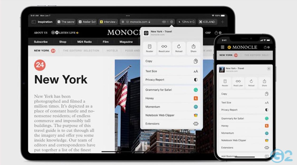 der neue Safari Browser auf der Apple WWDC21