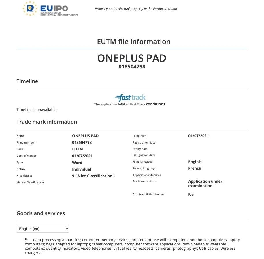 OnePlus Pad EUIPO Zertifikat