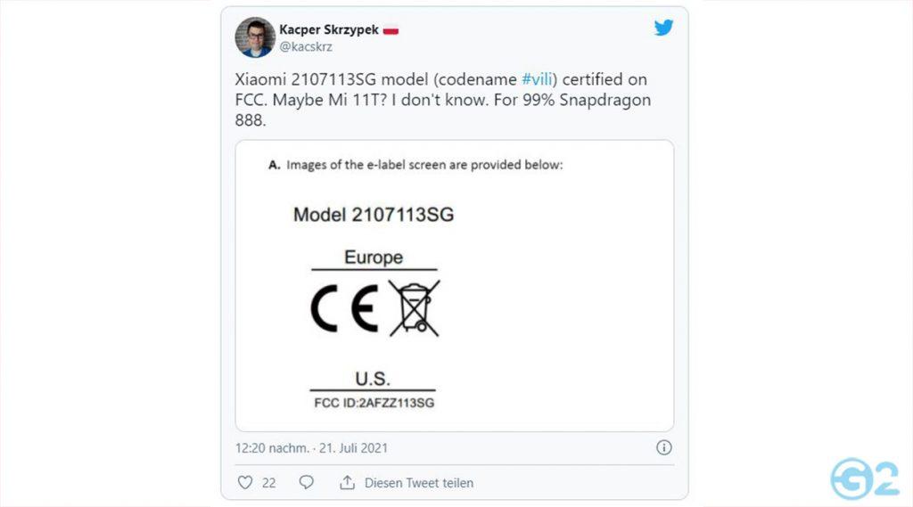 Xiaomi Mi 11T Leaktweet