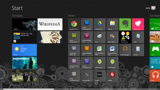 Modern UI-Oberfläche bei Windows 8